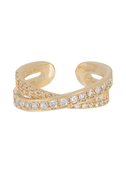 Handset high quality CZ kiss ring in Gold finish