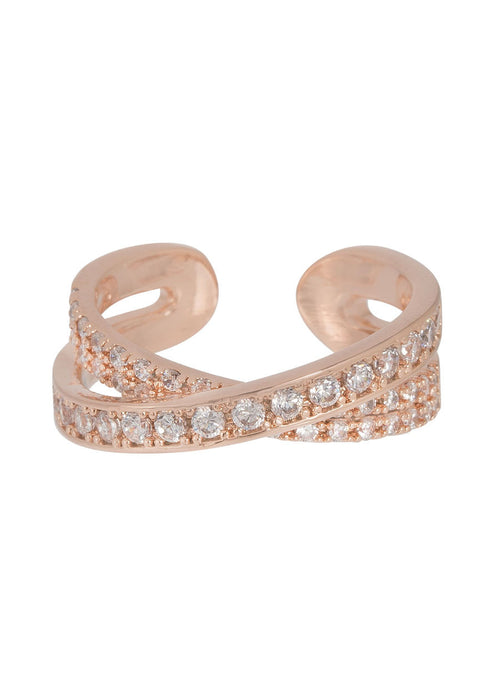 Handset high quality CZ kiss ring in Rose Gold finish