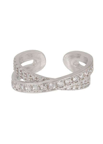 Handset high quality CZ kiss ring in White Gold finish