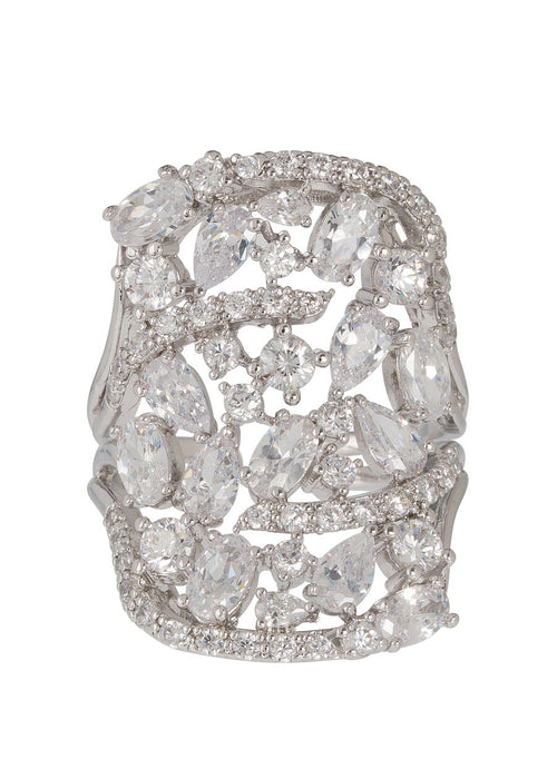 Edwardian estate Ring, with hand set high quality CZ, White Gold finish