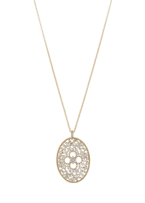 Ornate Edwardian long pendant necklace with clover accent, Clear CZ, Gold finish