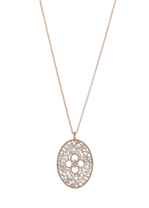 Ornate Edwardian long pendant necklace with clover accent, Clear CZ, Rose Gold finish