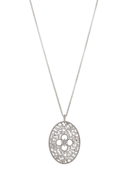 Ornate Edwardian long pendant necklace with clover accent, Clear CZ, White Gold finish