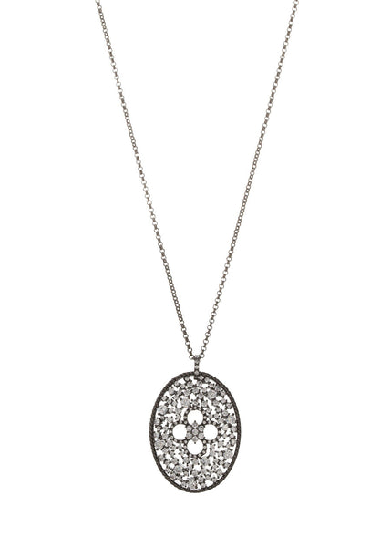 Ornate Edwardian long pendant necklace with clover accent, Clear CZ, Gun metal finish