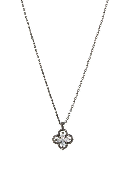 Open clover motif with five handset high quality CZ short pendant necklace, Gun metal finish