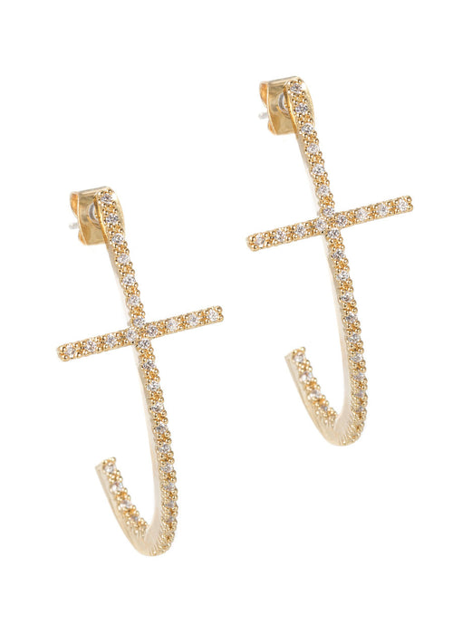 High quality hand set CZ inside out Cross elongated hoop earrings, Gold finish