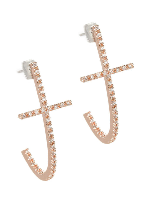 High quality hand set CZ inside out Cross elongated hoop earrings, Rose Gold finish
