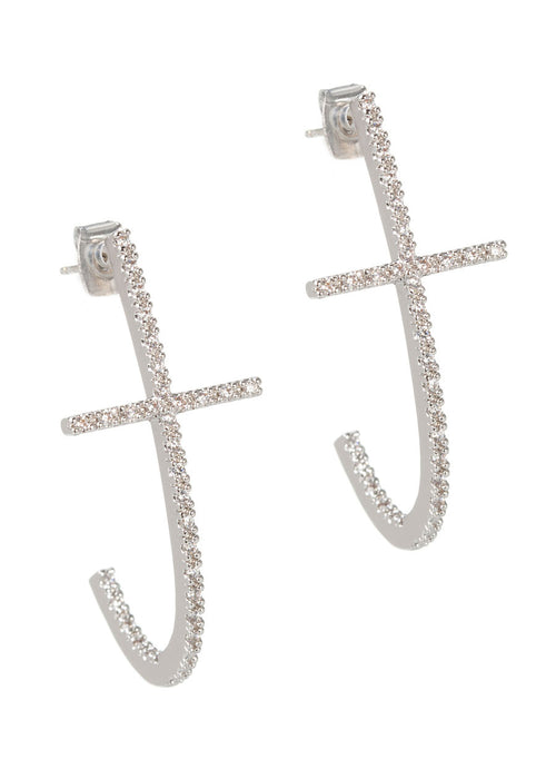 High quality hand set CZ inside out Cross elongated hoop earrings, White Gold finish