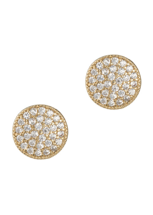 Round disc high quality micropave CZ stud earrings, Gold finish