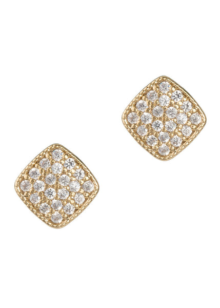 Square high quality micropave CZ stud earrings, Gold finish