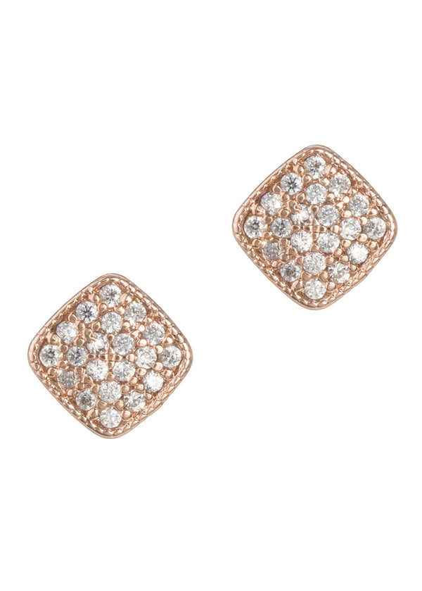 Square high quality micropave CZ stud earrings, Rose Gold finish