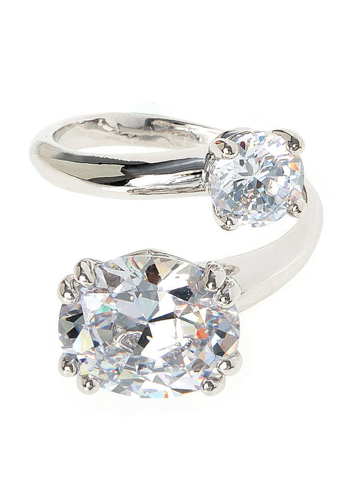 Oval and round cut statement adjustable Ring, with hand set high quality CZ, White Gold finish