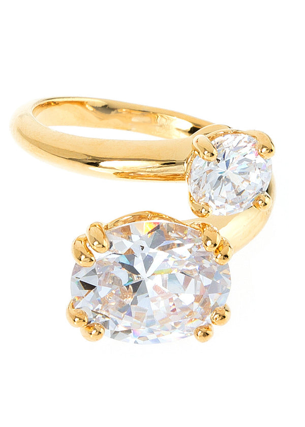 Oval and round cut statement adjustable Ring, with hand set high quality CZ, Gold finish
