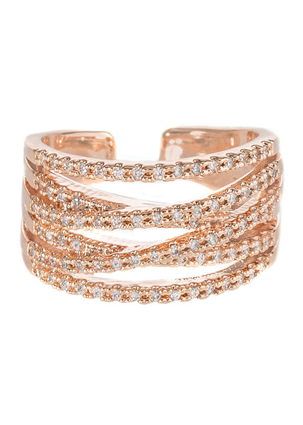 6 line hand set high quality CZ adjustable ring, Rose gold finish