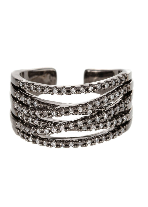 6 line hand set high quality CZ adjustable ring, Gunmetal finish
