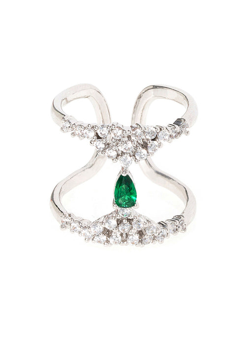 Pear cut emerald CZ accented H adjustable ring in high quality hand set micropave CZ, White Gold finish