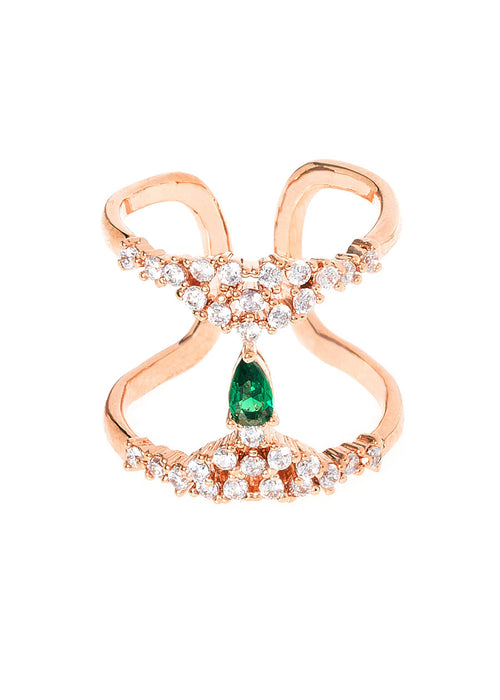 Pear cut emerald CZ accented H adjustable ring in high quality hand set micropave CZ, Rose Gold finish