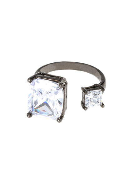 Cushion and princess cut statement adjustable Ring, with hand set high quality CZ, Gunmetal finish