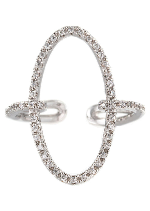Hand set micropave high quality CZ adjustable O ring, White gold finish