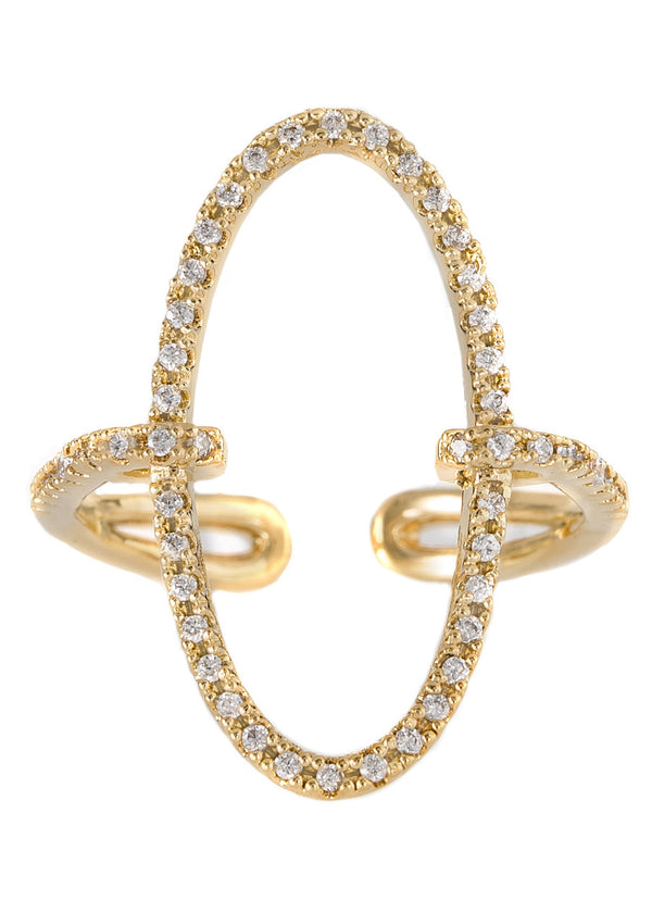 Hand set micropave high quality CZ adjustable O ring, Gold finish
