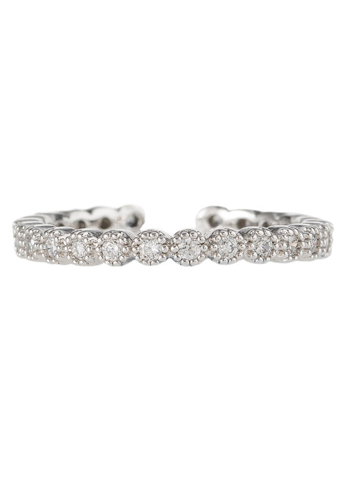 Single antique handset micropave high quality CZ adjustable eternity band, great for stacking, White gold finish