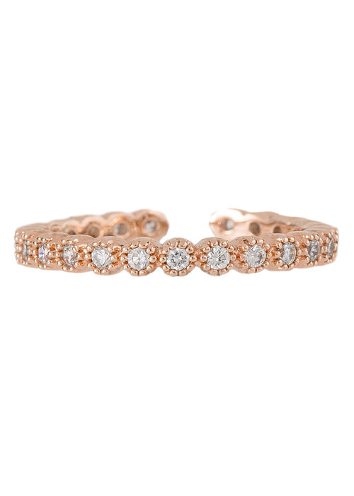 Single antique handset micropave high quality CZ adjustable eternity band, great for stacking, Rose gold finish