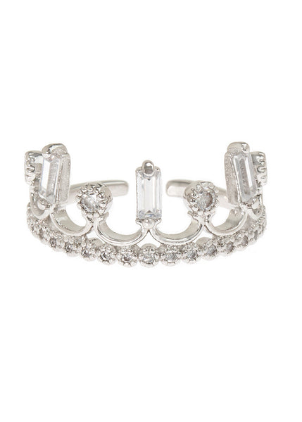 Baguette and antique round cut handset micropave high quality CZ adjustable crown ring, great for Midi or Pinky, White gold finish