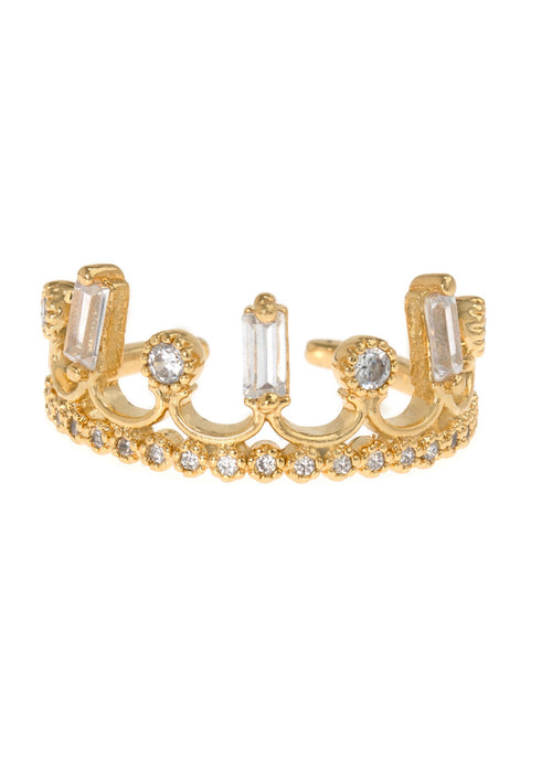Baguette and antique round cut handset micropave high quality CZ adjustable crown ring, great for Midi or Pinky, Gold finish