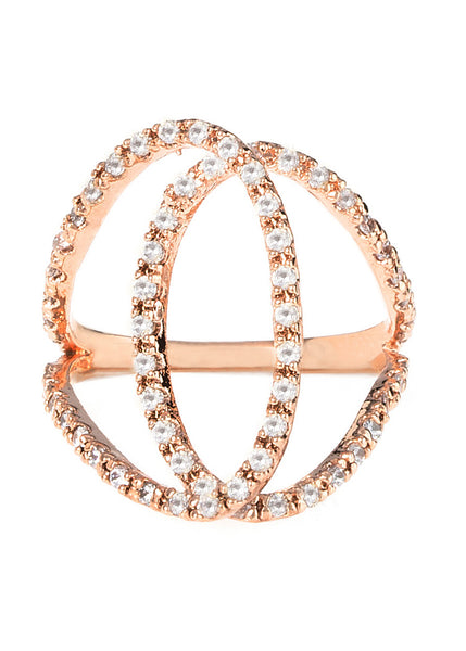 Ensemble ring with hand set micropave high quality CZ adjustable ring, Rose gold finish