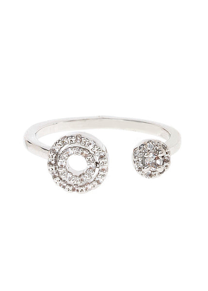 Universe ring with hand set micropave high quality CZ adjustable ring, White gold finish