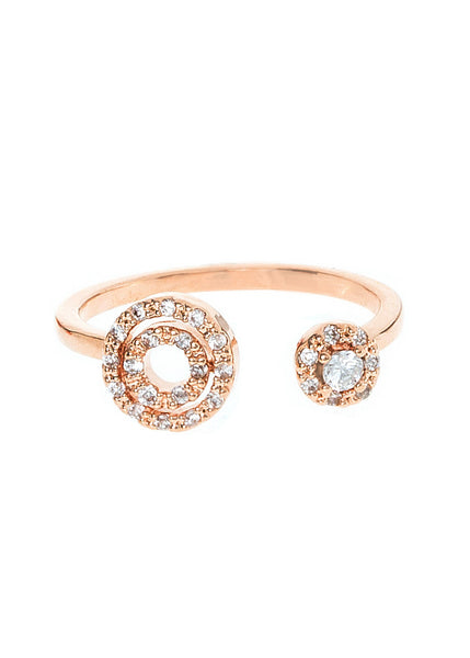 Universe ring with hand set micropave high quality CZ adjustable ring, Rose gold finish