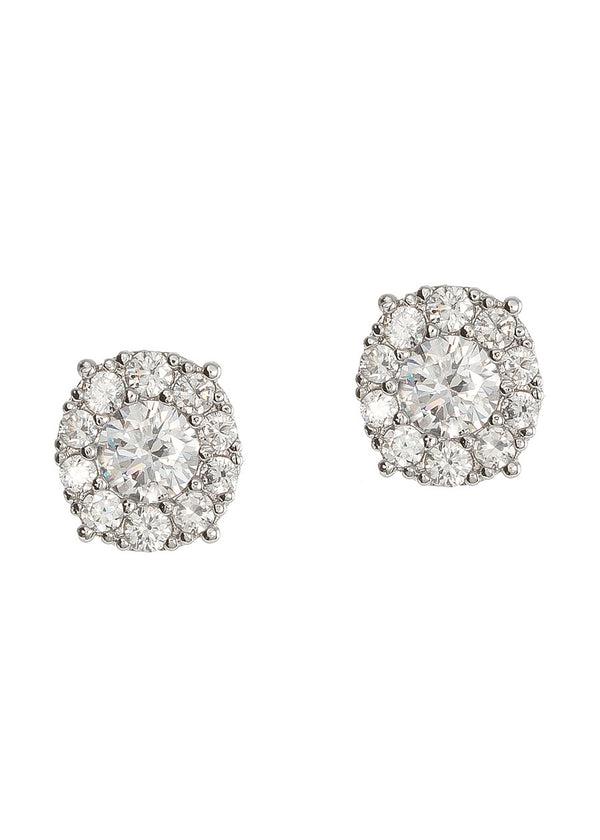 0.7 ct center round stone with ten 0.1 ct hand set CZ halo stud earrings, White gold finish