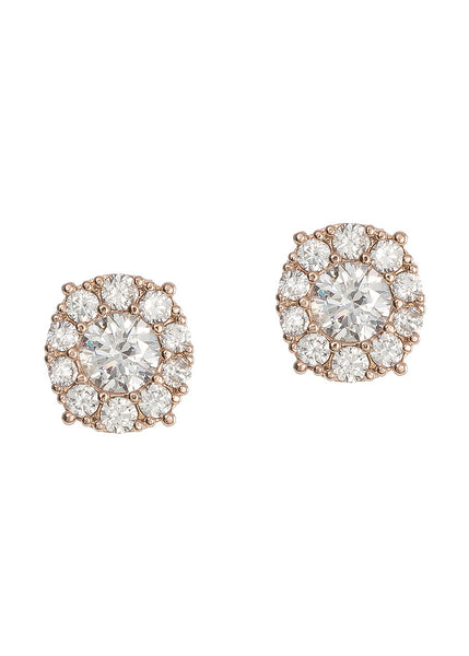 0.7 ct center round stone with ten 0.1 ct hand set CZ halo stud earrings, Rose gold finish