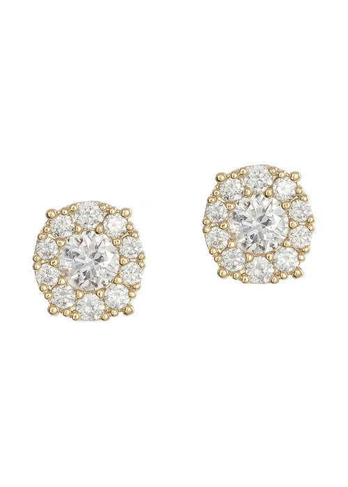 0.7 ct center round stone with ten 0.1 ct hand set CZ halo stud earrings, Gold finish