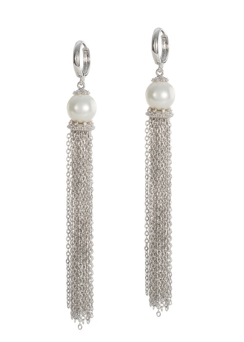 White shell pearl with hand set micropave high quality CZ accent chain tassel earrings, White gold finish