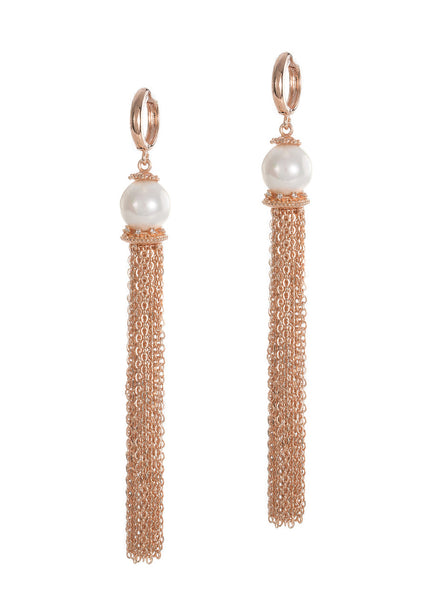 White shell pearl with hand set micropave high quality CZ accent chain tassel earrings, Rose gold finish