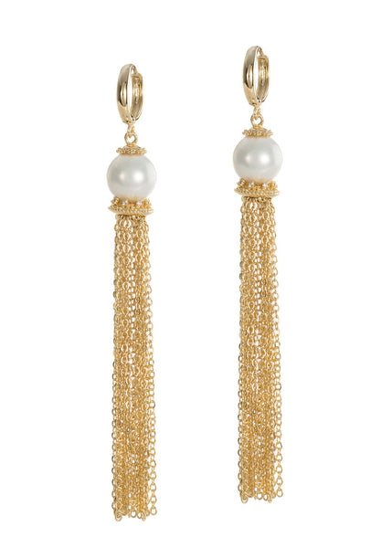 White shell pearl with hand set micropave high quality CZ accent chain tassel earrings, Gold finish