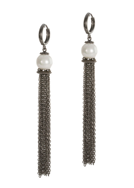 White shell pearl with hand set micropave high quality CZ accent chain tassel earrings, Gunmetal finish