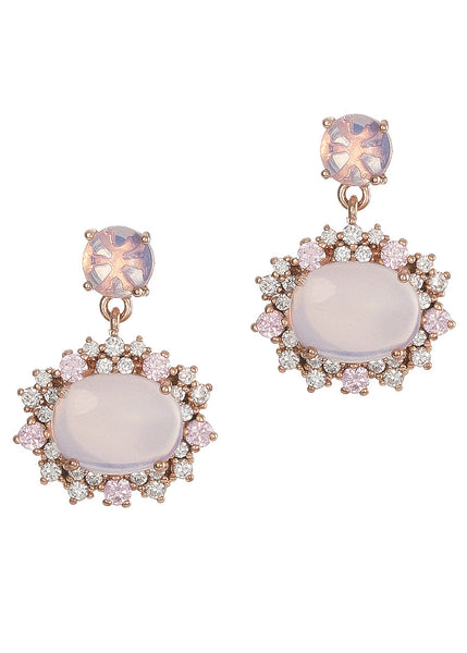 Moonstone with hand set micro pave high quality CZ drop earrings, Rose gold finish
