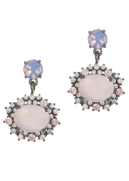 Moonstone with hand set pave high quality CZ drop earrings, Gunmetal finish