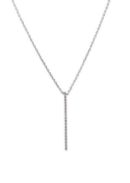 Linear bar short necklace with hand set micro pave high quality CZ, White Gold finish