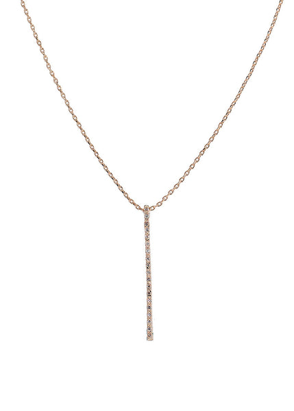 Linear bar short necklace with hand set micro pave high quality CZ, Rose Gold finish