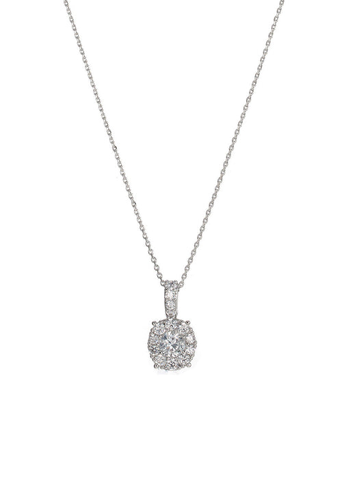 0.7 ct center round stone with ten 0.1 ct hand set CZ halo short necklace, White gold finish
