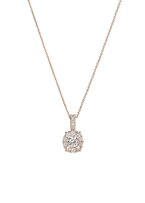 0.7 ct center round stone with ten 0.1 ct hand set CZ halo short necklace, Rose gold finish