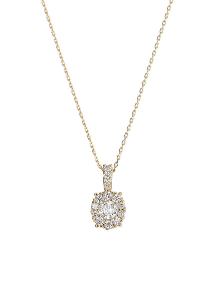 0.7 ct center round stone with ten 0.1 ct hand set CZ halo short necklace, Gold finish