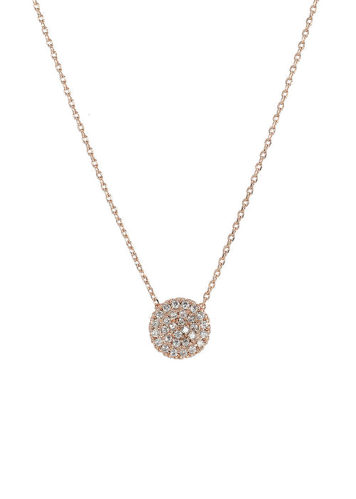Single hand set micro pave high quality CZ small disc short necklace, Rose Gold finish