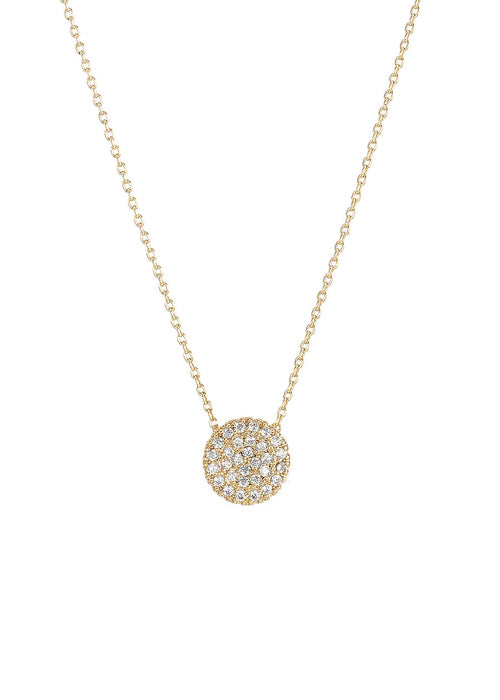 Single hand set micro pave high quality CZ small disc short necklace, Gold finish