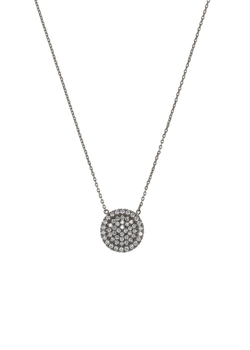 Single hand set micro pave high quality CZ small disc short necklace, Gunmetal finish