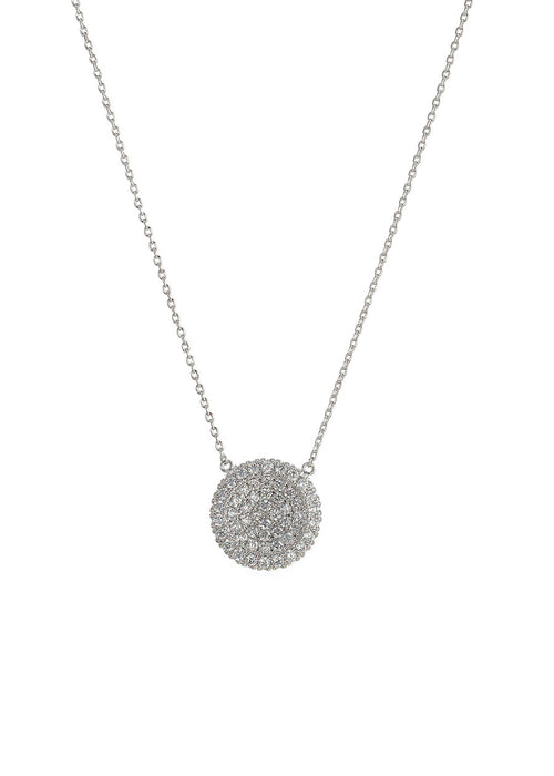 Single hand set micro pave high quality CZ large disc short necklace, White Gold finish