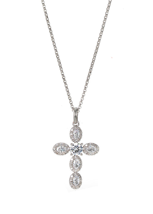 Cross long pendant necklace with five oval cut halo and round cut center accent in hand set micro pave high quality CZ, White gold finish